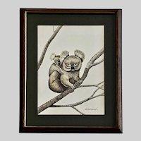 B Rodriguez, Koala Bears on Branch Watercolor Painting