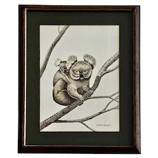 B Rodriguez, Koala Bears on Branch Watercolor Painting