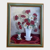 Jaeger, Mid-Century Elf and Bouquet of Flowers Still Life Oil Painting