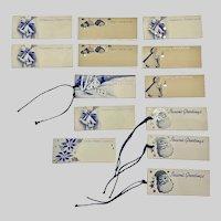 1940s Christmas Gift Tags Blue & White Set 13