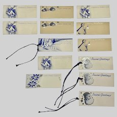 1940s Christmas Gift Tags Blue & White Set 13