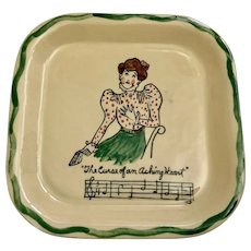 Los Angeles Potteries Square Plate #350 Rare California Pottery Aching Heart