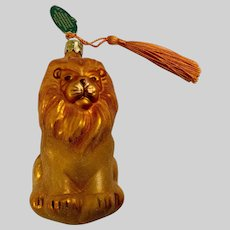 Vintage Lion Christmas Ornament Hand Blown Glass Bavaria Germany Christborn