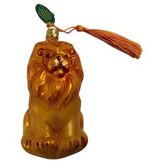 Vintage Lion Christmas Ornament Hand Blown Glass Bavaria Germany Christborn