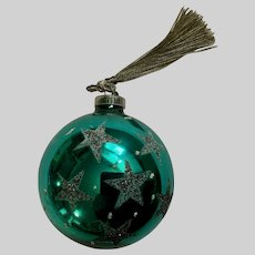 Vintage Blue Mercury Glass Ball Ornament West Germany