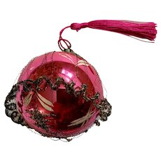 Vintage Pink Mercury Glass Ball Ornament with Tinsel and Spun Wires