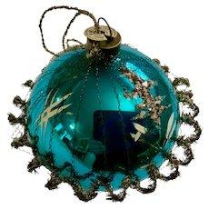 Vintage Blue Mercury Glass Ball Ornament Western Germany USA