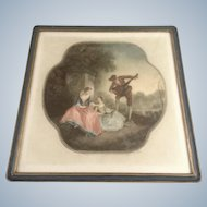 Arthur L Cox Mezzotint 'Music Lesson' Hand Painted Works on Paper Signed By Artist