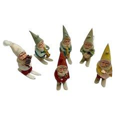 Mid-Century Santa Claus Skiing Pipe Cleaner Spun Silk Christmas Ornaments
