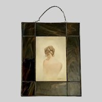 D Harris, Back of Nude Woman Figural Painting Stained Glass