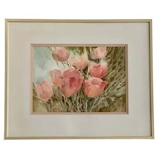 Maxine Tronsdale Gnazzo, Pink Tulips Watercolor Painting
