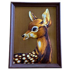 Rare Mid-Century Deer Relief Wall Decor Picture