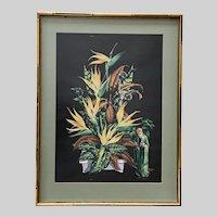 James Bunnell, Floral Asian Still Life Serigraph Screen Print
