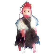 Monkey Celluloid Plastic & Fur Japan 1930's Organ Grinder Toy