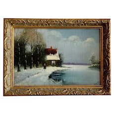 Woman Walking Along Frozen River Oil Painting Signed