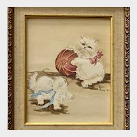 H Kirk, Baby Kittens Cats Playing Watercolor Painting
