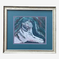 L Sheppard, White Tiger Expressionist Pastel Painting