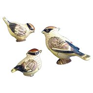 DeRosa Artesania Rinconada Waxwing Bird Figurines Retired Silver Anniversary 2004 Club #795, #1739 A & B Yellow