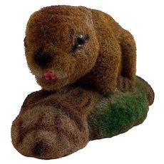 Vintage Adorable Flocked Beaver Bank Animal Figure