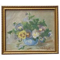 D E Rolyat, Pansies Flower Still Life Pastel Painting