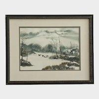G Heinemann, Foraging Deer on Winter Day Watercolor Painting
