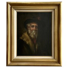 C Patin, Old Man portrait Oil Painting Signed by Listed Artist