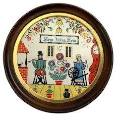 Folk Art Berggren Round Tile Wall Plaque
