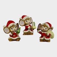 Vintage Christmas Santa Mice Figurines Homco