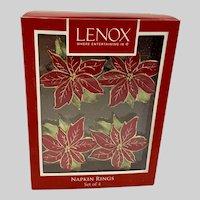 Lenox Christmas Poinsettia Flower Napkin Ring Holders