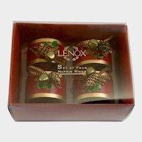 Lenox Christmas Pinecone Napkin Ring Holders