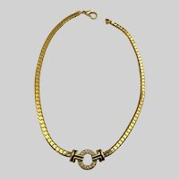 Gold-Tone Necklace with Rhinestone Circle Center