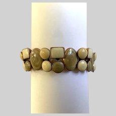Beige and White Enamel Bracelet on Stretchy Band