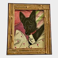 S Harpercee, Cute Black Dog Conte and Graphite Painting