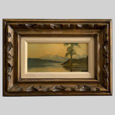 Beautiful Forested Lake with Mountain Background Oil Painting Signed
