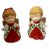 Vintage Pair Christmas Lefton Kissing ANGEL Figurines Marked #2801