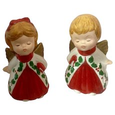 Vintage Pair Christmas Lefton Kissing ANGEL Figurines Marked #2801
