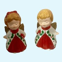 Lefton Kissing Angels Christmas Figurines Vintage Pair Marked #2801