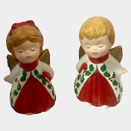 Lefton Kissing Angels Christmas Figurines Vintage Pair Marked #2801