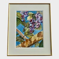 Liz Mustee, Harvest Time Grape Clusters Watercolor Painting Signed By Artist