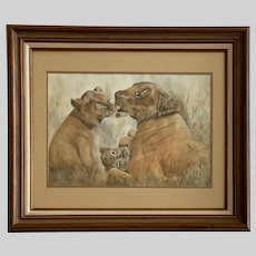 Joan Clark, Lion Family Bath Time Watercolor Painting