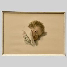 Vintage Bessie Pease Gutmann Sleeping Baby On Dreamlands Border Print