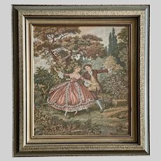 Vintage Courting Dancing Couple Tapestry Framed