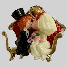 Wedding Bride and Groom Kissing Figure Miniature Hong Kong