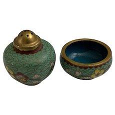 Vintage Cloisonne Salt Celler and Pepper Shaker Brass and Enamel Floral Patterns