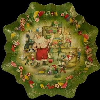Mid-Century Christmas W. Germany Cardboard Bowl Basket Ambassador Cards