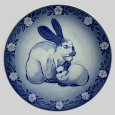 Royal Copenhagen Denmark Mother Rabbit with Bunny Plate Iven Vestergaard 1985