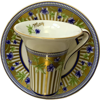 Scherzer May Flowers of the Month Bone China Demitasse Cup and Saucer