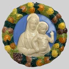 Madonna and Child Della Robbia Plaque Italy Religious Icon Roundel Signed