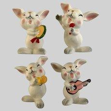 Schmid Bros. Bunny Rabbit Musical Band Figurines Made in Japan SB
