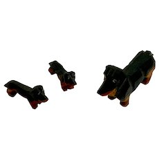Dachshund Wood Carved Miniature Doxin Dog Set Dollhouse Figures